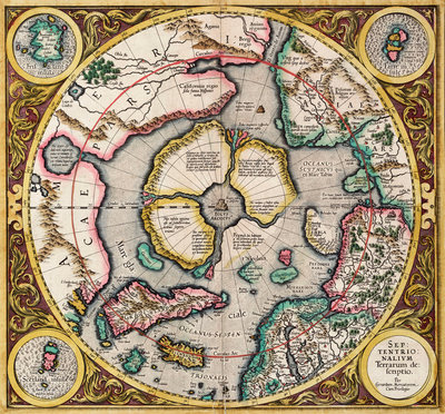 Polar projection 'Septentrionalium terrarum' by Mercator by Gerard Mercator - print