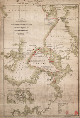 Sketch of discoveries on the northern coast of America by Captain McClintock RN in search of Sir John Franklin by James Wyld - print