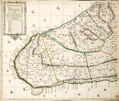 A new & exact map of the island of Barbados in America according to survey made in the years 1717 to 1721 by William Mayo. by William Mayo - print