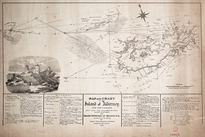 Map and chart of the Island of Alderney and the Caskets by James Wyld - print