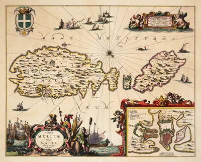 Map of Malta and Gozo by unknown - print