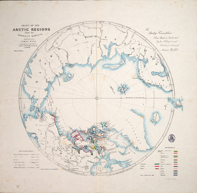 Chart of the Arctic regions from the Admiralty surveys, third edition by James Wyld - print