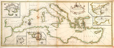 Chart of the Mediterranean, 1730 by Charles Price - print