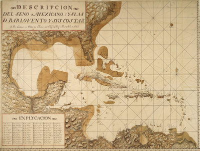Chart of the Gulf of Mexico and Caribbean islands, 1742 by Miol Polo - print