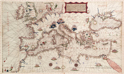 Chart of Mediterranean, Black and Caspian Seas, 16th century by Paulo Forlani - print