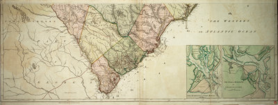 Map of North and South Carolina by Sayer & Bennett - print