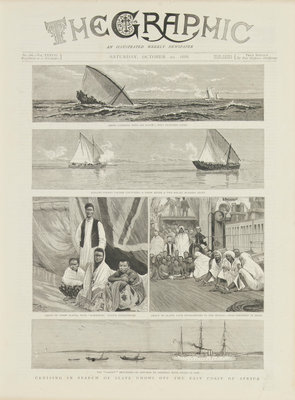 Cruising in search of slave dhows off the coast of Africa by unknown - print
