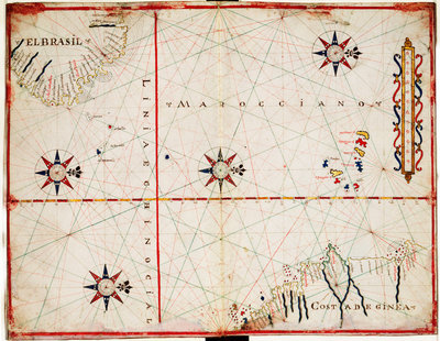 Map of central Atlantic by Joan Oliva - print