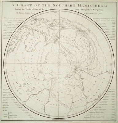 Chart of the Southern Hemisphere showing pre-Cook journeys and discoveries by James Cook - print