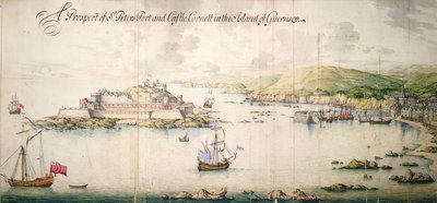 A prospect of St. Peters port and Castle Cornett in the island of Guernsey by Thomas Phillips - print