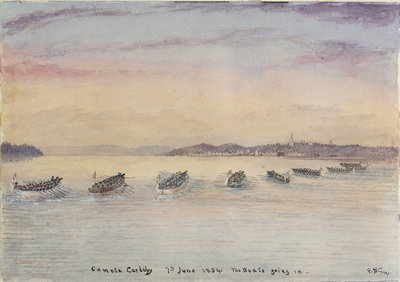 Gamla Carleby, June 7th 1854. The boats going in. by Dr Edward Hodges Cree - print