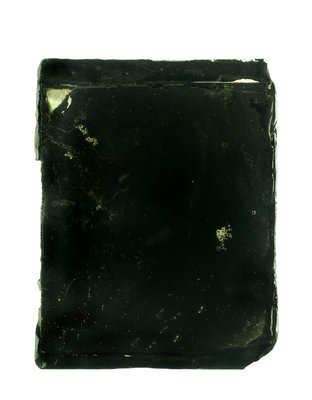 Two pieces of plain glass stuck together with wax by unknown - print