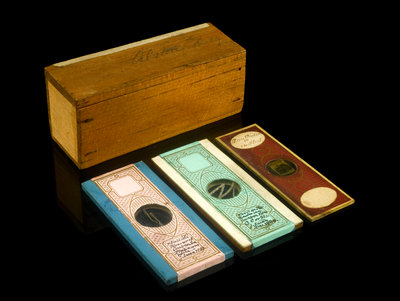 Microscope slide and box by unknown - print