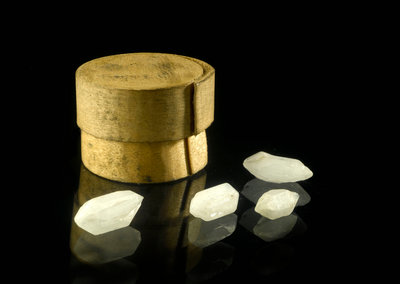 Pill box containing four cloudy white crystals by unknown - print