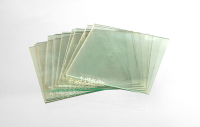 Thirteen clean cut glass squares in a box by unknown - print