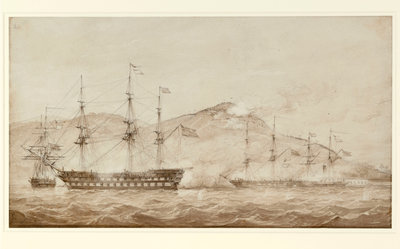 HMS 'Wellesley', HMS 'Columbine' and HMS 'Grisel' by William Joy - print
