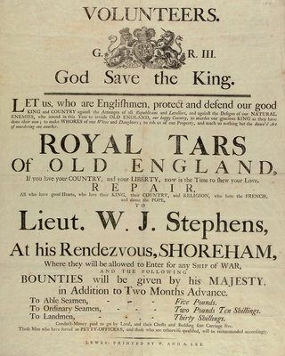 'Royal Tars of Old England', a recruitment poster for volunteers by W. & A. Lee - print