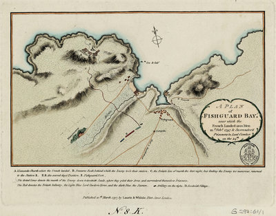 A plan of Fishguard Bay near which the French landed 1200 men 22nd February 1797 and surrendered prisoners to Lord Cawdor on the 24th by Laurie & Whittle - print