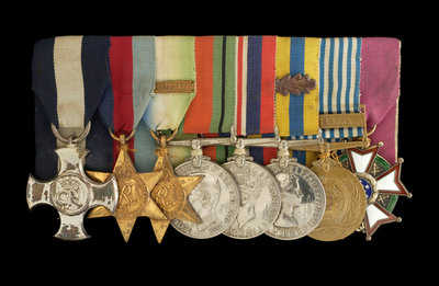 Medals awarded to Commander Peter Worth DSC (obverse, l to r, MED2002-2009) by unknown - print