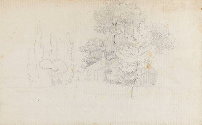 Study of trees and a small building in the grounds of Merton Place by Thomas Baxter - print