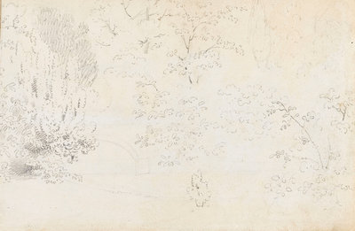 A study in graphite of the bridge and trees from the west (verso) by Thomas Baxter - print