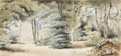 Part of the grounds at Merton with an arbour and trees (recto) by Thomas Baxter - print
