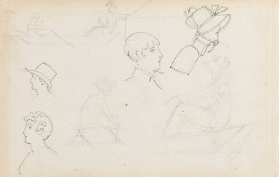 Studies of young women rowing and of heads in profile (recto) by Thomas Baxter - print
