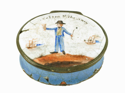 Oval patch box with a mirror inside the lid, commemorating Vice-Admiral Horatio Nelson (1758-1805) by unknown - print