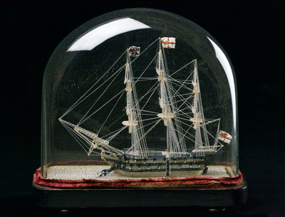 Ship model in glass dome by unknown - print