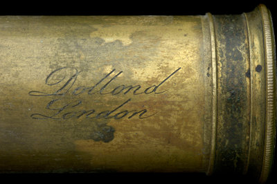 Pocket telescope - draw tube inscription by Dollond - print