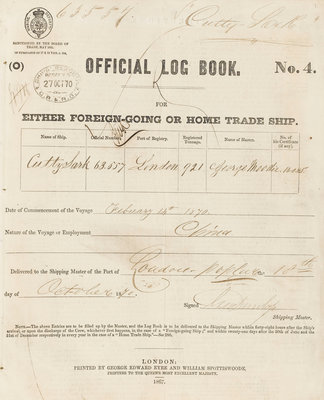Official logbook of 'Cutty Sark' (1869) recording a voyage from London to China in 1870 under the command of Captain Moodie by unknown - print