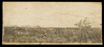 A whalebone panel engraved with a scene showing a whaling vessel in full sail on the horizon by unknown - print