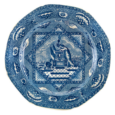 Octagonal blue transfer-printed commemorative plate by unknown - print