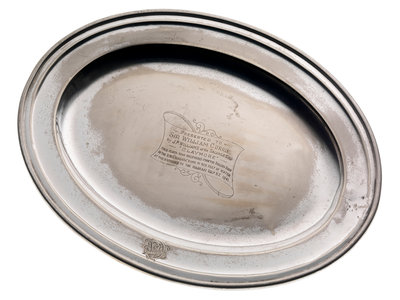 Electroplated dish from the wreck of RMS 'Niagara', salvaged in 1941 by Walker & Hall - print