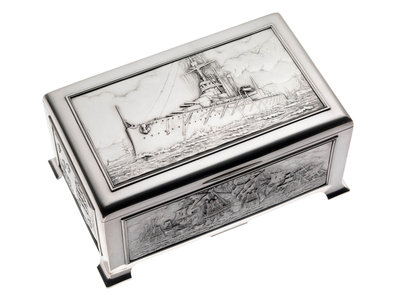Silver cigarette box, commemorating the Battleship HMS 'King George V' (1911), given to King George V (1865-1936) by his mother Queen Alexandra (1844-1925) by Peter Carl Faberge - print