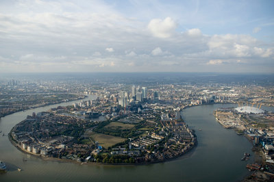 Aerial view of Isle of Dogs and river Thames, London by National Maritime Museum Photo Studio - print