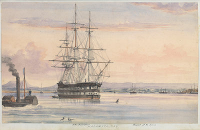 Watercolour of the 'Bellerophon' at Kalamita Bay, Heights of the Alma, September 1854 from the logbook of HMS 'Trafalgar' kept by Captain Hereford by Edward William Hereford - print