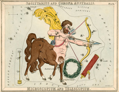 Constellation card, Urania's mirror, Sagittarius and Corona Australis by Sidney Hall - print
