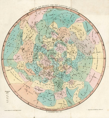 Constellation card, Urania's mirror, Chart of the Heavens for the Latitude of London by Sidney Hall - print
