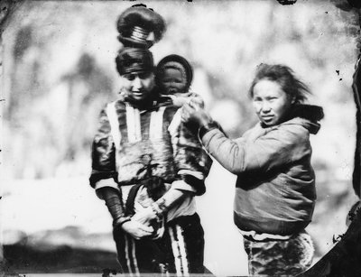 Two Inuit women with baby by Edward Augustus Inglefield - print
