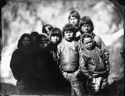 Group portrait of Inuit boys by Edward Augustus Inglefield - print