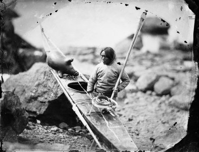 Inuit man with a kayak by Edward Augustus Inglefield - print
