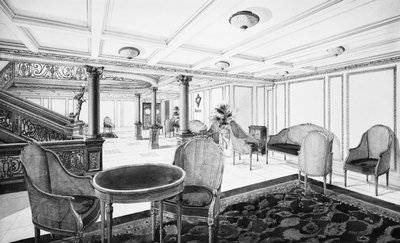 First Class Restaurant Reception Room on the 'Titanic' (1912) by Bedford Lemere & Co. - print