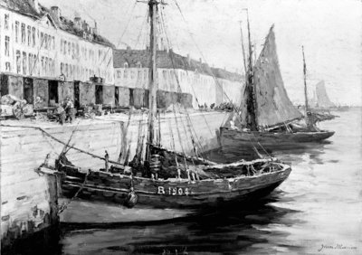 Fishing boats alongside a quay by Bedford Lemere & Co. - print