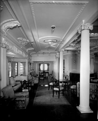 First Class Music Room on the 'Indarra' (1912) by Bedford Lemere & Co. - print