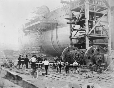 View of Brunel's 'Great Eastern' prior to her 1858 launch by Robert Howlett - print