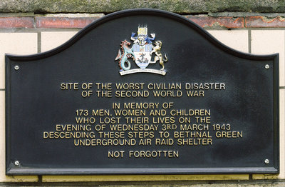 Plaque commemorating the Bethnal Green Station disaster of 1943 by Cleve Severin - print