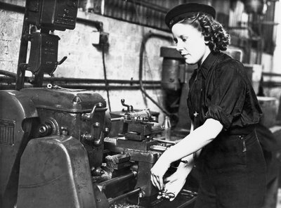 A Wren using a turning machine in the Second World War by unknown - print
