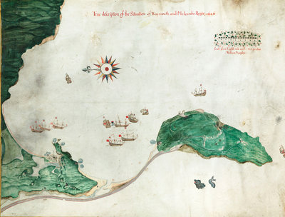 Chart 'A true description of the situation of Weymouth and Melcombe Regis', 1626 by William Simpson - print