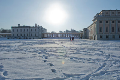 National Maritime Museum and Queen's House after heavy snowfall by National Maritime Museum Photo Studio - print